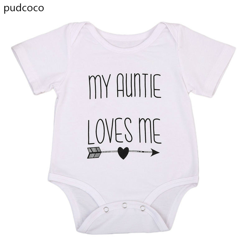 My Auntie Loves Me Baby Boy Girls Romper Clothes White Cotton Short Sleeve Jumpsuit Rompers Letters Print Infant Outfits