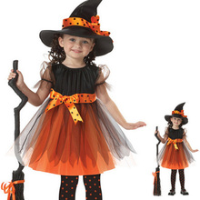 2016 Hot Halloween Cosplay for Girl Witch Suit and Hat Kid Party Christmas Costume Fancy Dresses