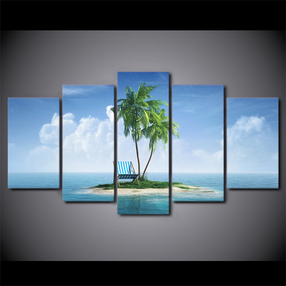 5 Pcs Tropical Island Tree Canvas HD Printed Poster Frame Painting Wall Art Pictures Framework Decoracao Para Casa