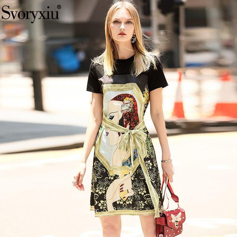 Kadın Giyim'ten Elbiseler'de Svoryxiu Pist Tasarımcısı yaz elbisesi kadın Kısa Kollu O boyun Sıcak Sondaj Karakter Baskılı Gevşek rahat elbise Vestdios'da  Grup 1