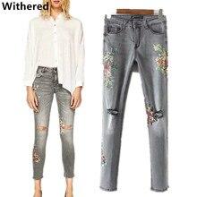 Увядшие джинсы женщин 2017 европейский стиль Vintage печать мыть старые отверстия в узкие джинсы для женщин карандаш джинсы плюс размер