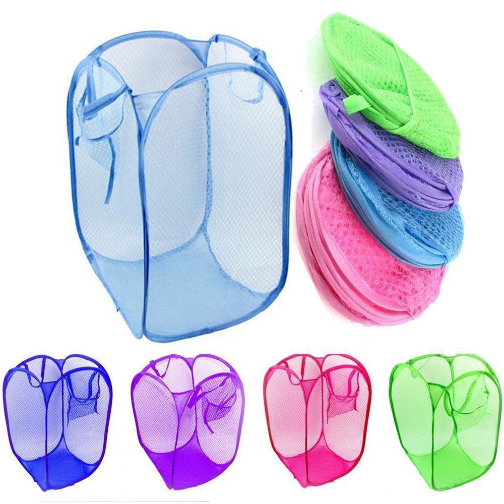 1Pc Nylon Foldable Pop Up Light Laundry Storage Basket Travel Mesh Dirty Clothes Washing Sundries Storage Bag For Home Housekeep