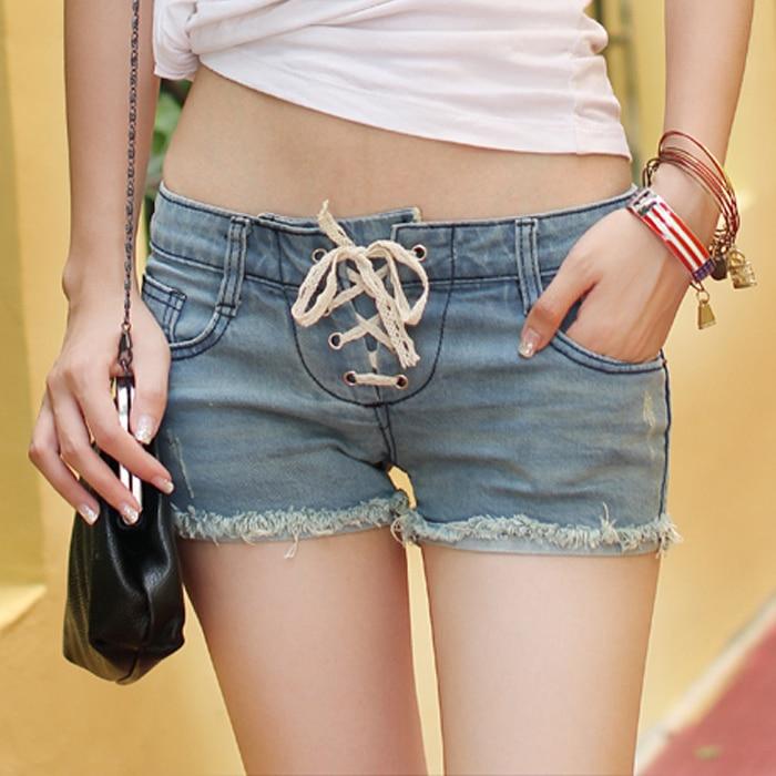 2014 Summer Fashion Cut Off Denim Low Waist Shorts, Lace -4478