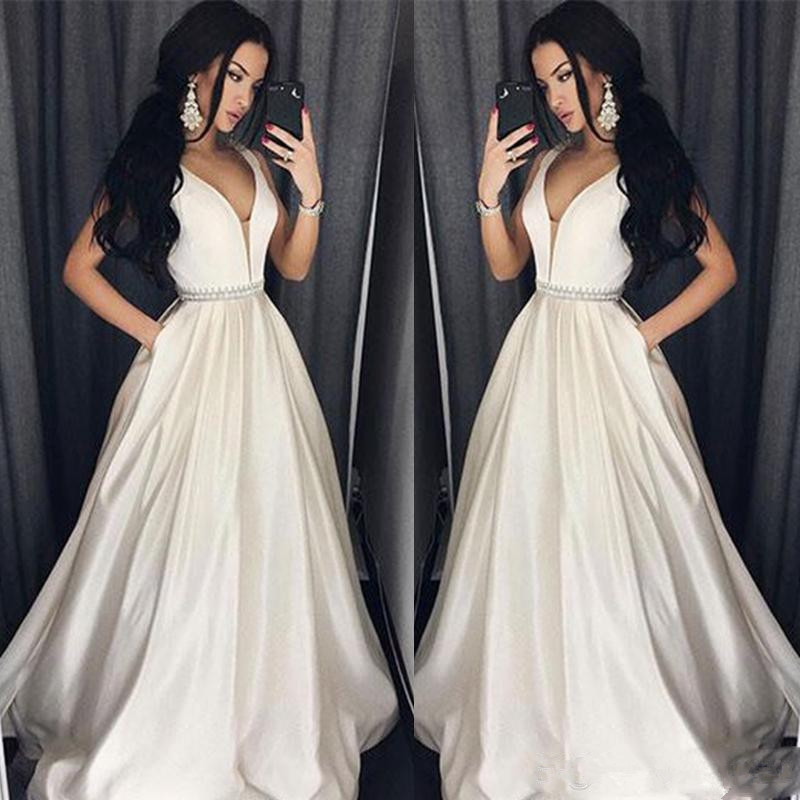 Elegant Robe De Soiree 2019 A-line Deep V-neck South African Backless Beaded Sexy Long   Prom     Dresses     Prom   Gown Evening   Dresses