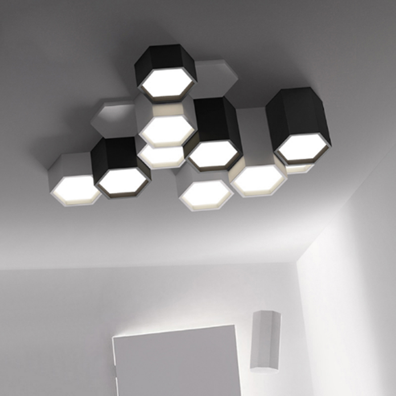 Modern Minimalist DIY Combination Hexagon Design Ceiling Lamp Frosted Iron LED Living Room Lighting Acrylic Decoration Fixture