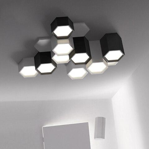 moderno e minimalista diy combinacao hexagono design lampada do teto ferro fosco led sala de