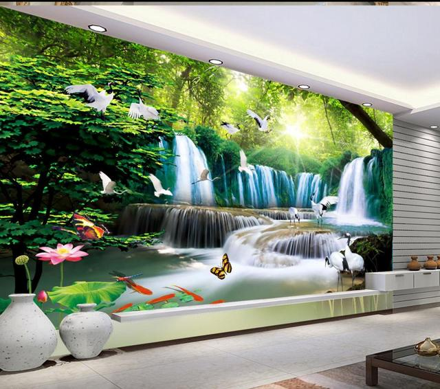 Beautiful Living Room Wallpaper Part - 16: 3D Waterfalls Water Wallpaper Custom Hd Beautiful Lotus Wallpapers For Living  Room Sticker Non-woven