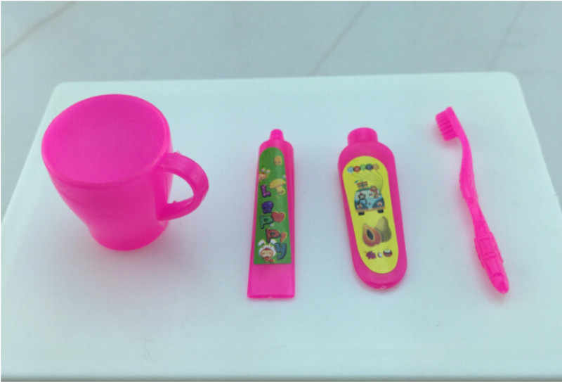Conjunto de 4 unidades para muebles de Casa Barbie, accesorios para muñecas, conjunto de cepillo de dientes con tubo de pasta dental rosa