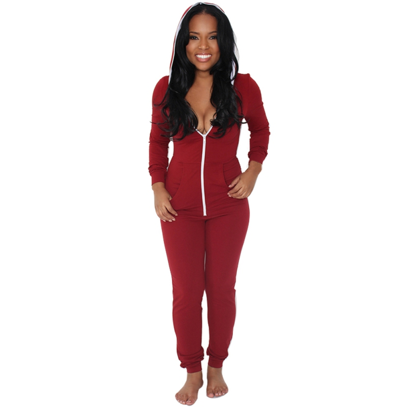 Casual Women Outfits Jumpsuits Long Sleeve Front Zipper Hooded Long Pants Sexy Black/Red ...