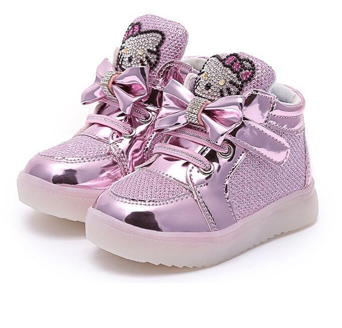Promoción Hello Kitty Niñas LED Zapatos primavera otoño Niñas princesa Linda Zapatos con luz niños iluminado sneakers 21-36