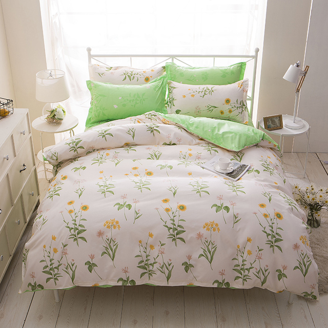 Fresh small yellow flower pale green 4pc twinfullqueenking size fresh small yellow flower pale green 4pc twinfullqueenking size bed mightylinksfo