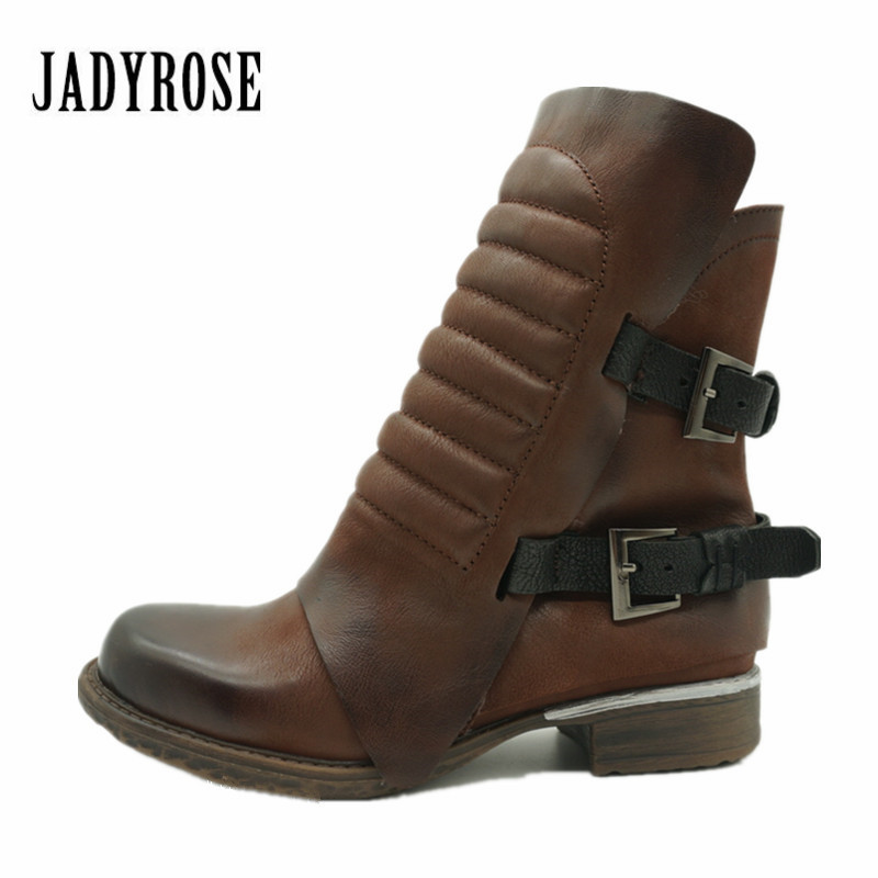Jady Rose Vintage Genuine Leather Women Ankle Boots Thick Heel Flat Booties Side Zipper Rubber Botas Short Martin Boot jady rose vintage brown women genuine leather mid calf boot chunky high heel platform boots straps buckle decor martin botas