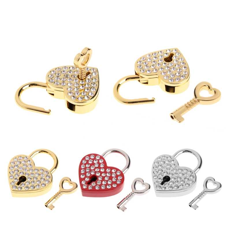 10Styles New Diamonds Heart Shape Vintage Old Antique Style Mini Archaize Padlocks Key Lock with key