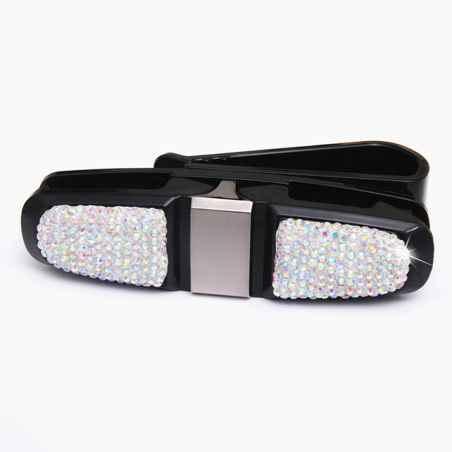 2019 New Bling Bling Crystal Car Sun Visor Glasses Ticket Clip Holder Fashion Car Accessories Perfect for Girls Ladies Women