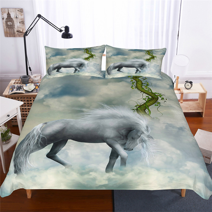 Bedding Set 3D Printed Duvet Cover Bed Set Unicorn Home Textiles for Adults Lifelike Bedclothes with Pillowcase #DJS09-in Bedding Sets from Home & Garden
