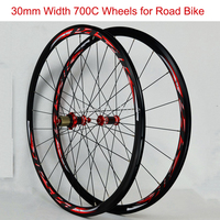 700CC Wheels Double deck Aluminium Alloy Wheelset Road Bike Carbon Hub front 2 rear 4 bearings C/V brake 1Pairs Wheels only1600g