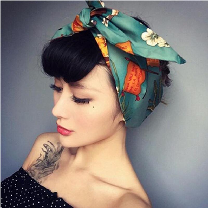 Retro Style Women Hair Accessories Head Band Metal Wire Inside Knot Headband Wide Print Turban Headband for Adult Girls   Headwear