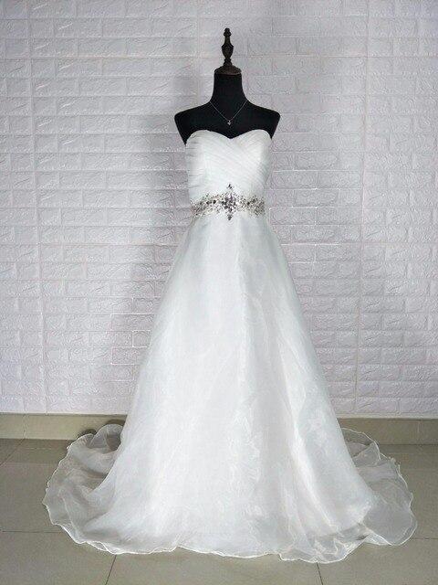 9d401b1e27ed1 Réel Photos broderie corset bustier Blanc Ivoire robe avec Cristal Perles  Robes De Mariée 2017 Robe