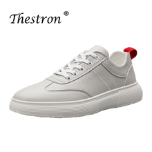 Thestron Geniune Leather Casual Shoes Anti Slip Men On Handmade Walking Footwears White Black Shoe for Fashion Sneakers