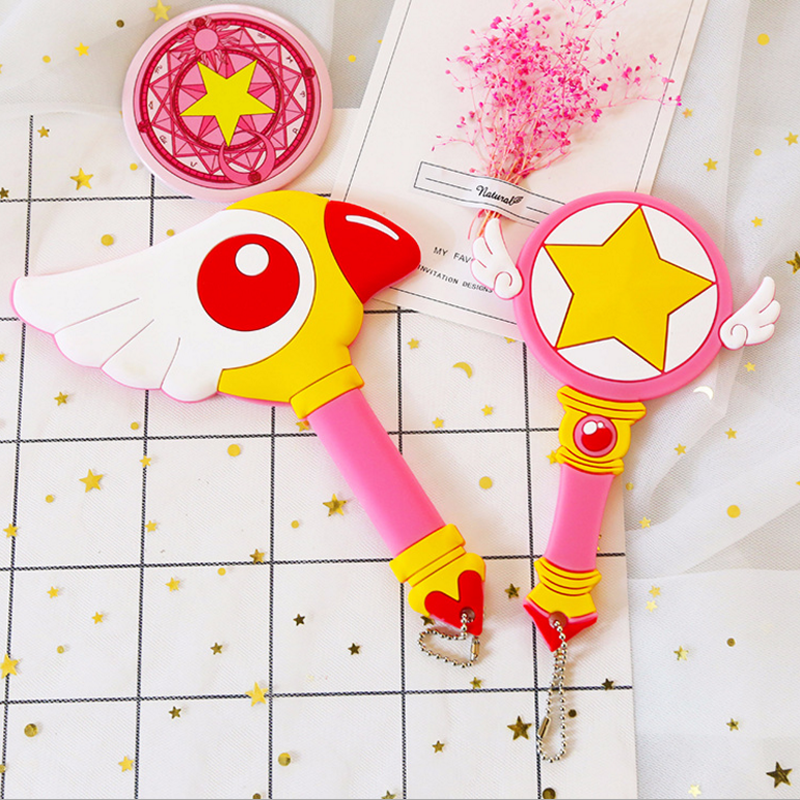 1 pcs new Cardcaptor Sakura Magic Wand Dreamlike with Angle Wings Mirror Pink Super Star Childrens Day Gift Creative Anime Toy