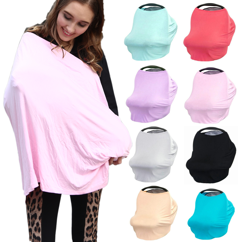 Multi-use Cotton Stretchy 3 in 1 Gift Baby Car Seat Cover Canopy Nursing Cover Infinity Scarf