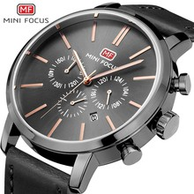 купить MINI FOCUS Black Watch Men Gold Fashion Chronograph Business Mens Watches Quartz Stainless Steel Watch Male Army Military Clock недорого