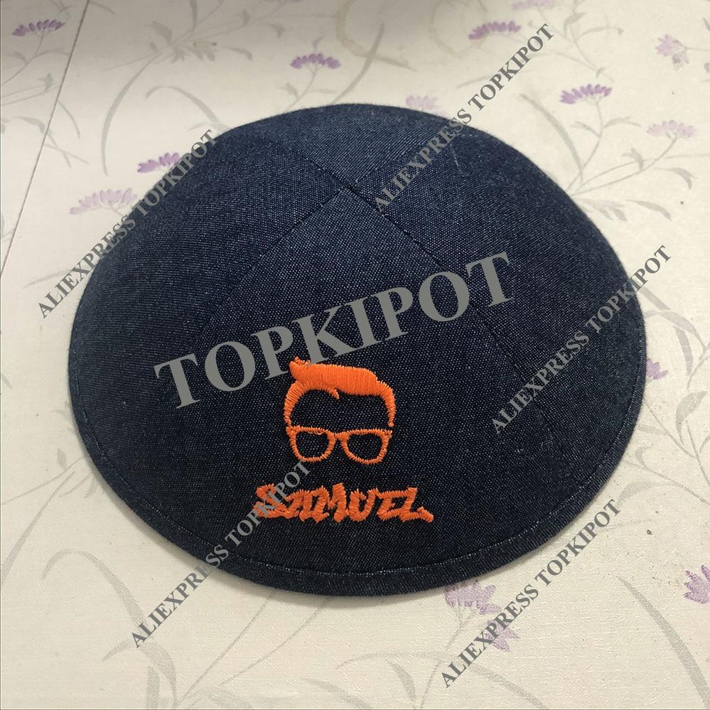fluorescent orange denim kipot kippot yarmulke yarmulka skullcap