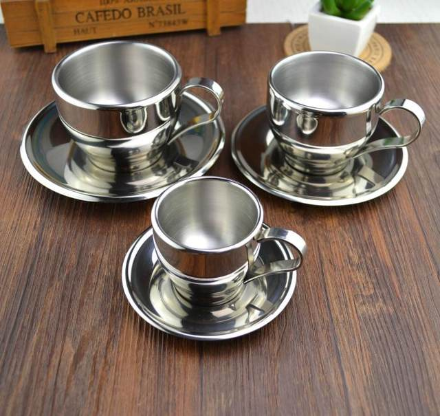 European Style High Quality Stainless Steel Coffee Cup And Saucer Set Double Wall Mug 3 Size