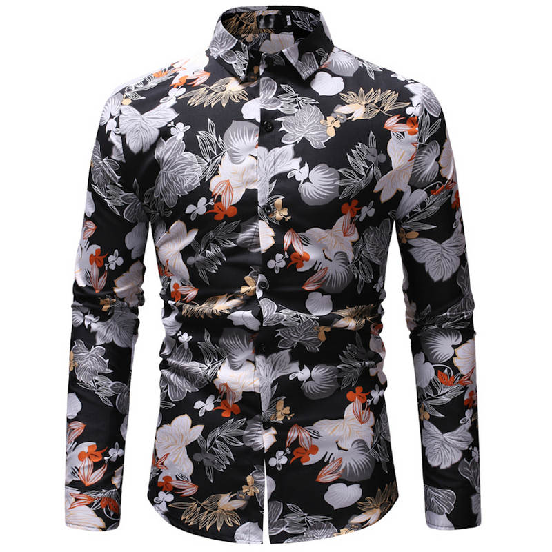 Men's Summer Beach Hawaiian Shirt 2019 Brand Long-sleeved Plus Size And Color Shirt Men's Casual Resort Dress Camisas 23 Color