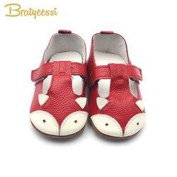 الثعلب طفلة أحذية جلد طبيعي طفل الأخفاف مكافحة زلة الكرتون الرضع الفتيات طفل أحذية 7 ألوان