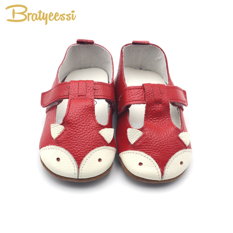 Fox Baby Girl Shoes Äkta Läder Baby Mockasiner Anti Slip Cartoon Spädbarn Flickor Småskor Skor 7 färger