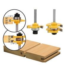 NO.1 10 frezowanie nóż do drewna 1/4 Shank Tongue Groove Router bity wiercenie frezowanie rzeźba zestaw piętro obróbki drewna gorąca sprzedaż