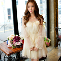 Dabuwawa light beige long sleeve mesh dress