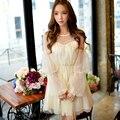 Dabuwawa luz beige manga larga mesh dress