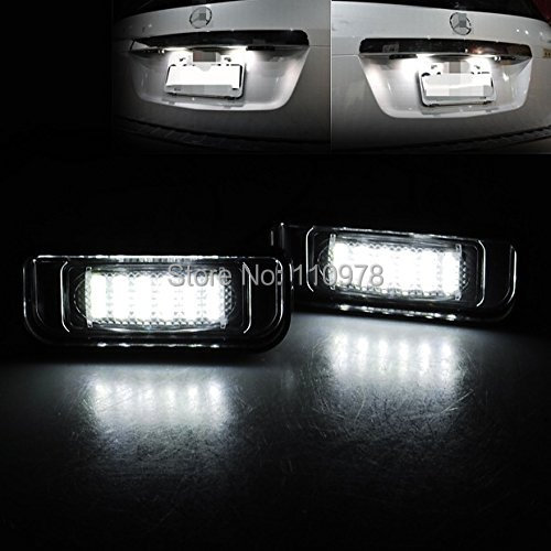 2pcs White Error Free LED License Plate Light for Mercedes-Benz W220 S320 S420 S430 99-05 S Class Auto Number Plate Tail Light