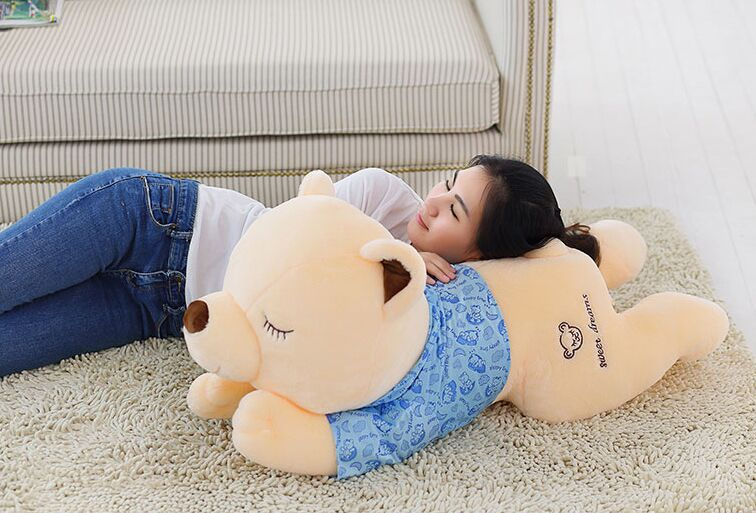 Stuffed Teddy bear with blue cloth lying teddy bear large 130 cm bear throw pillow doll b0676 прогулочная коляска teddy bear sl 106 blue owl