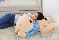 Stuffed Teddy bear with blue cloth lying teddy bear large 130 cm bear throw pillow doll b0676