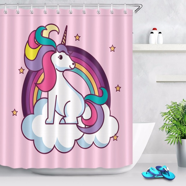 Cute Unicorn Star Clouds Rainbow Shower Curtains Bathroom Curtain Waterproof Polyester Fabric For Kids Girl Bathtub Decor
