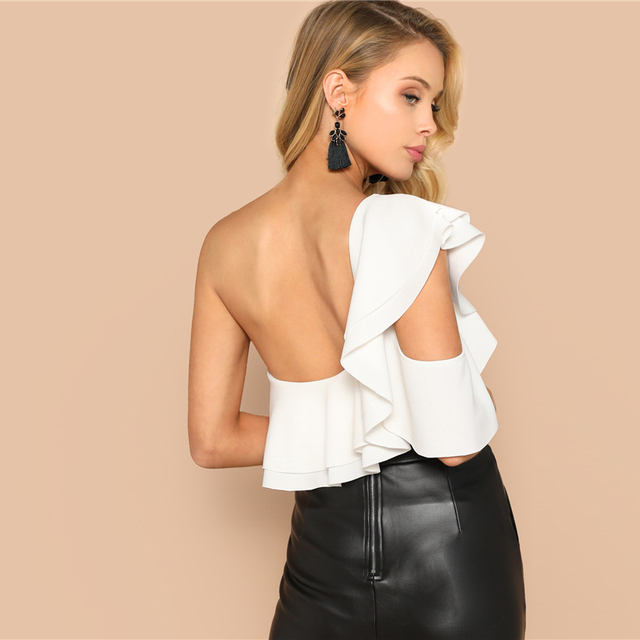 Layered Ruffle One Shoulder Backless Bodysuit Women – 21JS