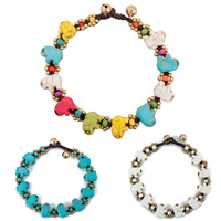 AMOURJOUX Ethnic Handmade 3 Colors Elephant Charms Beaded Leg Anklets For Women Ankle Bracelet Anklet Female Foot Jewelry