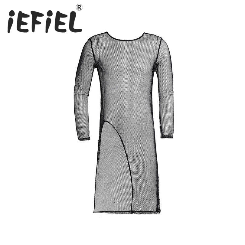 iEFiEL Sexy Mens Lingerie Long Sleeves Crew Neck Mesh See-through Front Split Long T-Shirt Undershirt Clubwear Nightwear Clothes