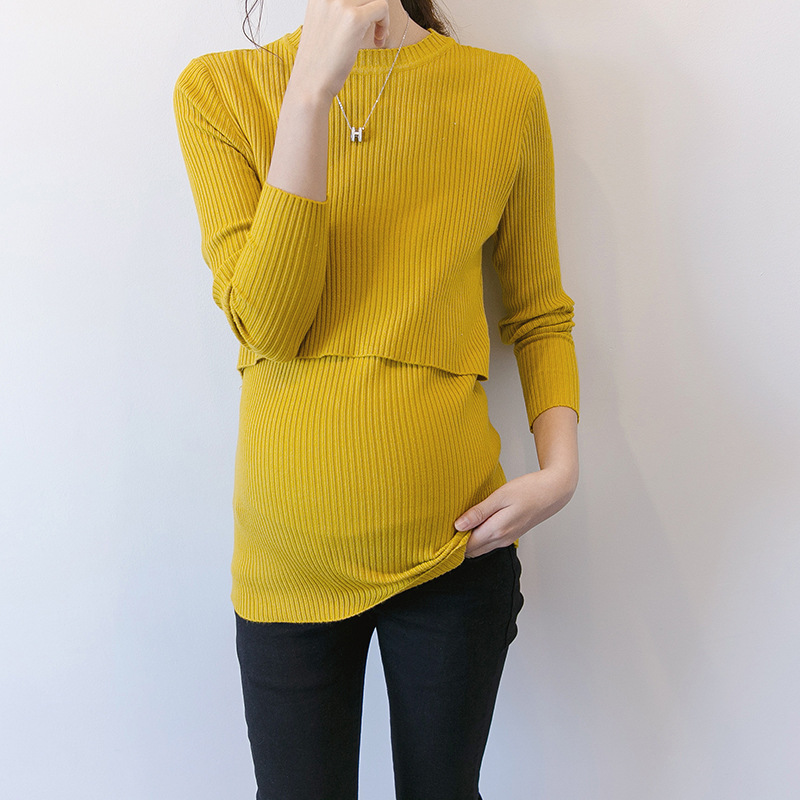 Autumn Korean Maternity Sweaters Breastfeeding Shirt For Pregnant Women Elastic Vestido Winter Sweater Knitted Clothes H8 2017 new maternity breastfeeding t shirt
