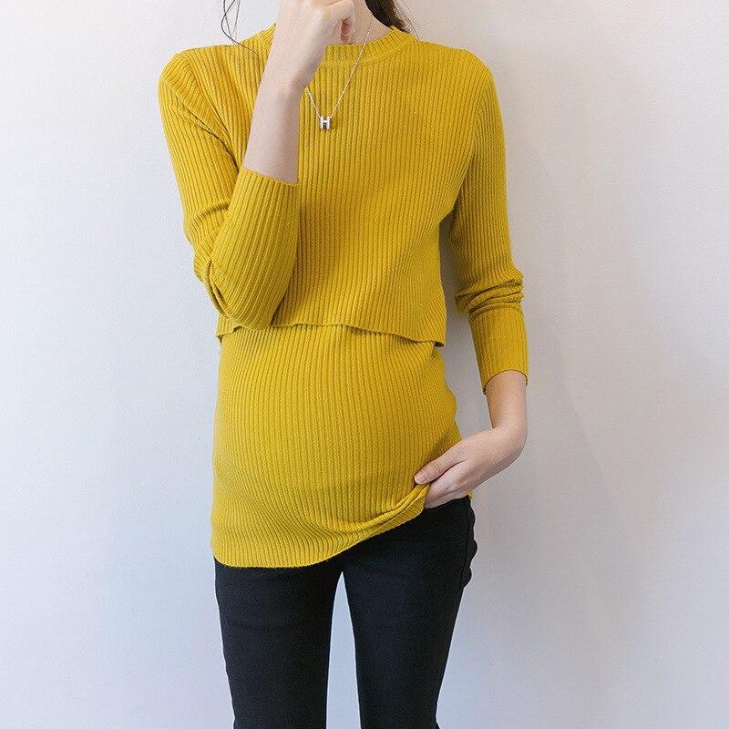 Autumn Korean Maternity Sweaters Breastfeeding Shirt For Pregnant Women Elastic Vestido Winter Sweater Knitted Clothes H8 fashion breastfeeding t shirt