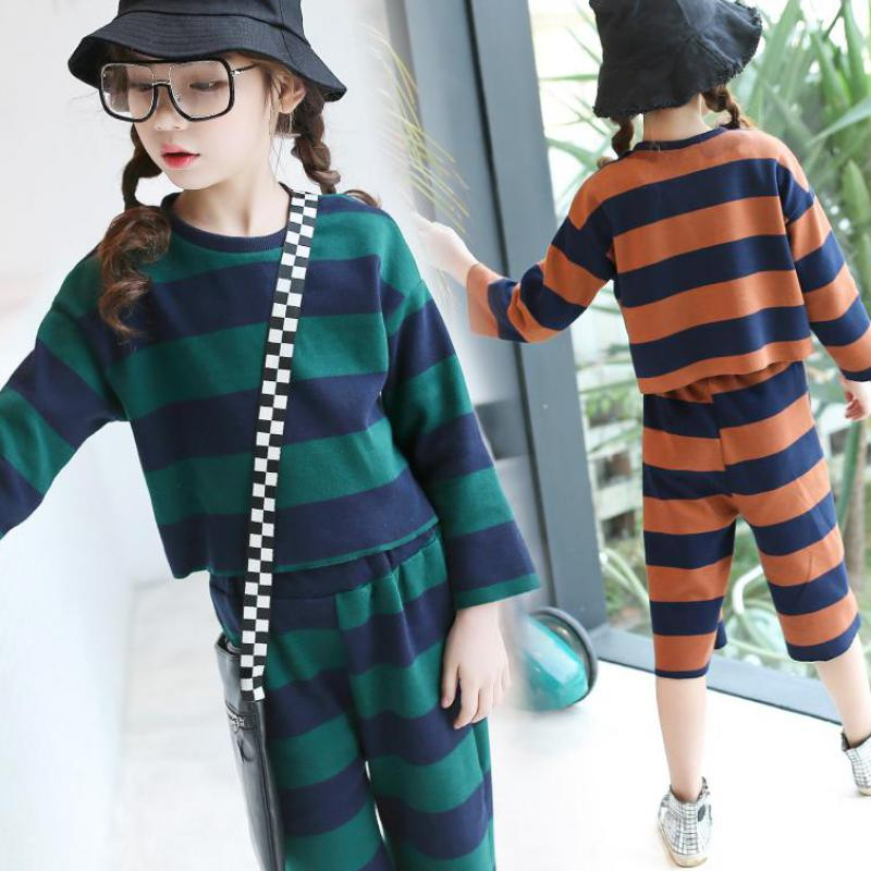 Girls Clothing Sets 2018 Fashion Big Teen Kids Clothes Children Spring Suits For Teenage Set Full Sleeve Striped Tops + pants 12 long sleeve children s sports suits boys clothing set camouflage child tracksuit clothes sets for teenage
