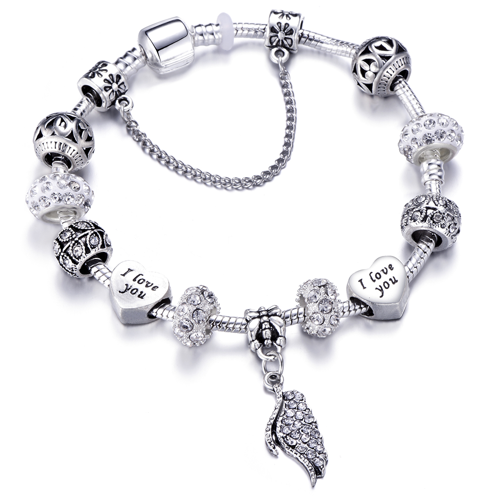Fashion Silver Charms Bead Chain Bracelet&Bangle With Love Heart Brand Bracelet For Women Jewelry Gift Dropshipping