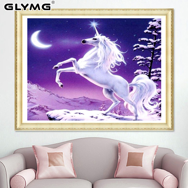GLymg Diy Craft Picture White Horse Unicorn Diamond Embroidery Bright Rhinestone Crystal Round Diamond Painting Wall Sticker