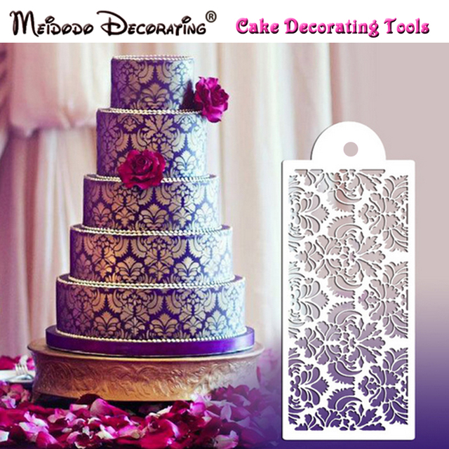 New Arrival Flower Design Stencil For Wedding Cake Fondant Damask