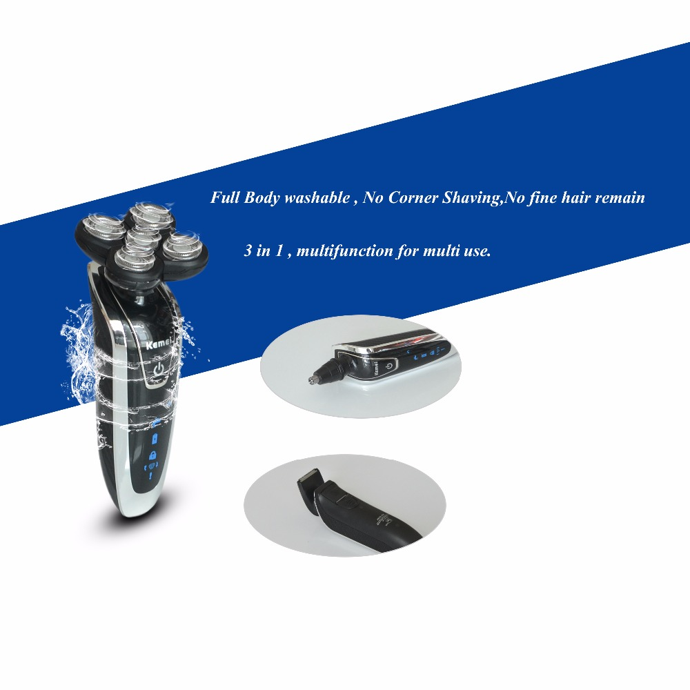 2Pcs Men Washable Rechargeable Rotary Electric Shaver Razor With 5D Floating Structure Quick Charge Hair Removal