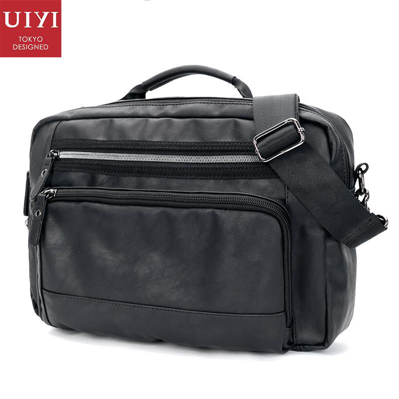 UIYI Fashion PU Leather Handbag Men Casual Messenger Shoulder Bag Crossbody Business Sling Satchel Male Tote Bags 160077 men and women bag genuine leather man crossbody shoulder handbag men business bags male messenger leather satchel for boys
