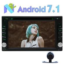 2 Din Android 7.1 Car DVD Player Stereo GPS Navigation Bluetooth Vehicle Radio Receiver Support Mirrorlink/1080P/OBD2 Camera